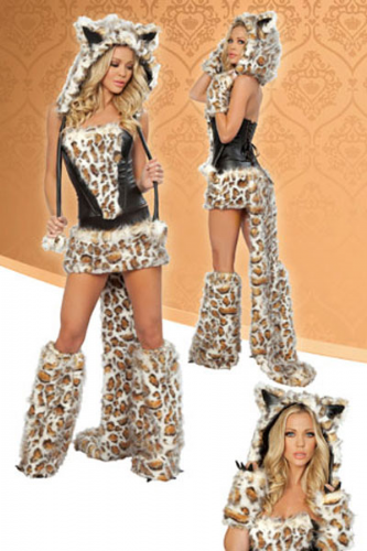 Women's Costume Sexy Leopard Costume with Skirt & Tail Ladies Sexy Theme Costumes Zabardo